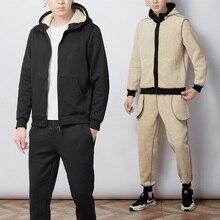 Survêtement chaud pour homme épais fausse capuche, ensemble de 2 pièces, veste + pantalon, vêtements de sport pour hommes, 2019 4XL 5XL, survêtement