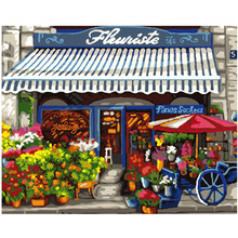 WEEN Town flower shop-DIY Painting By Numbers, Acrylic Paint, Canvas For Wall Decoration Picture, Paint Numbers