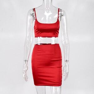 Image 5 - Colysmo סקסי 2 חתיכה להגדיר נשים בגדי כפול שכבות שתי חתיכה להגדיר קצוץ חולצות סאטן מיני חצאית סט Slim שני חתיכה מועדון תלבושות