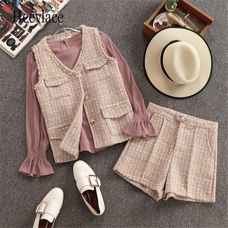 Women Autumn Winter OL Office 3PCS Outfit Flare Long Sleeve Basic Simple Blouse+V-Neck Sleeveless Tweed Vest Tops+Fashion Shorts