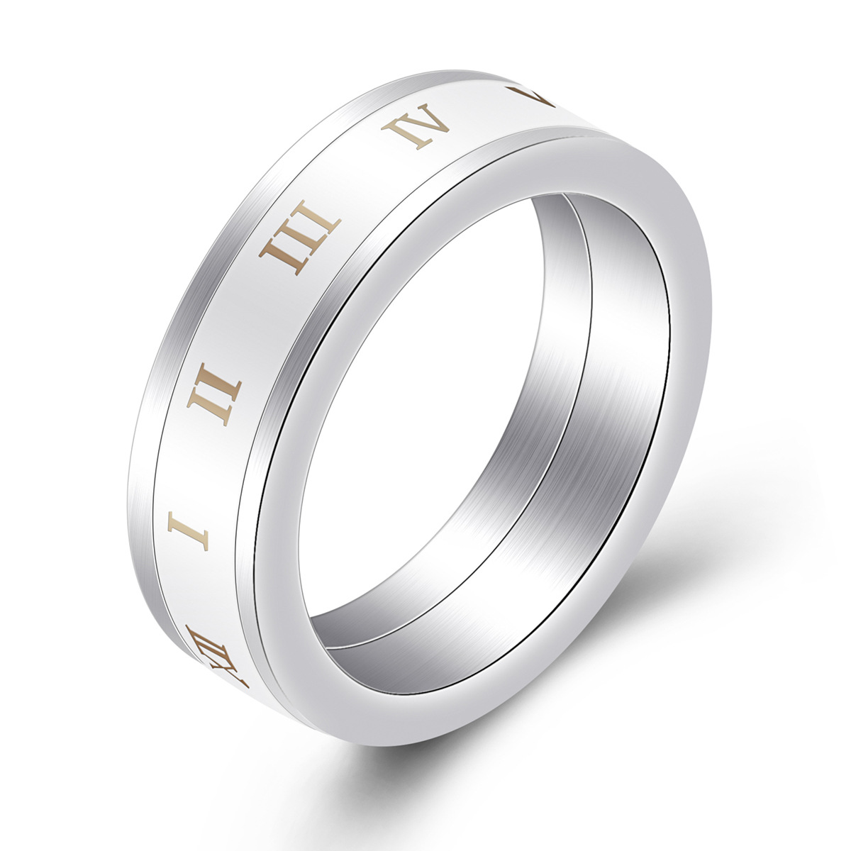 Nouvel anneau rotatif numérique romain en céramique anneau créatif en acier titane pour hommes