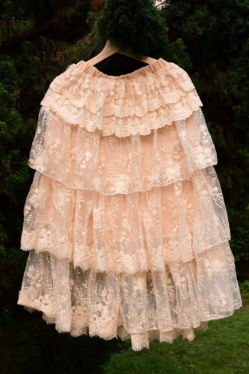 Japonais Mori fille Hippie Boho Vintage rétro gothique bohème dentelle à volants Crochet broderie coton lin femmes automne automne jupe