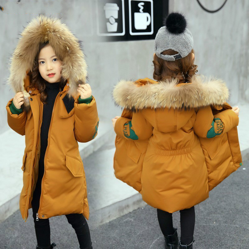 2019 Girls Clothing Kids Thicken Warm Coat Children Winter Girl Clothes Parka Real Raccoon Fur Hooded Down Cotton Jacket 3-14Y