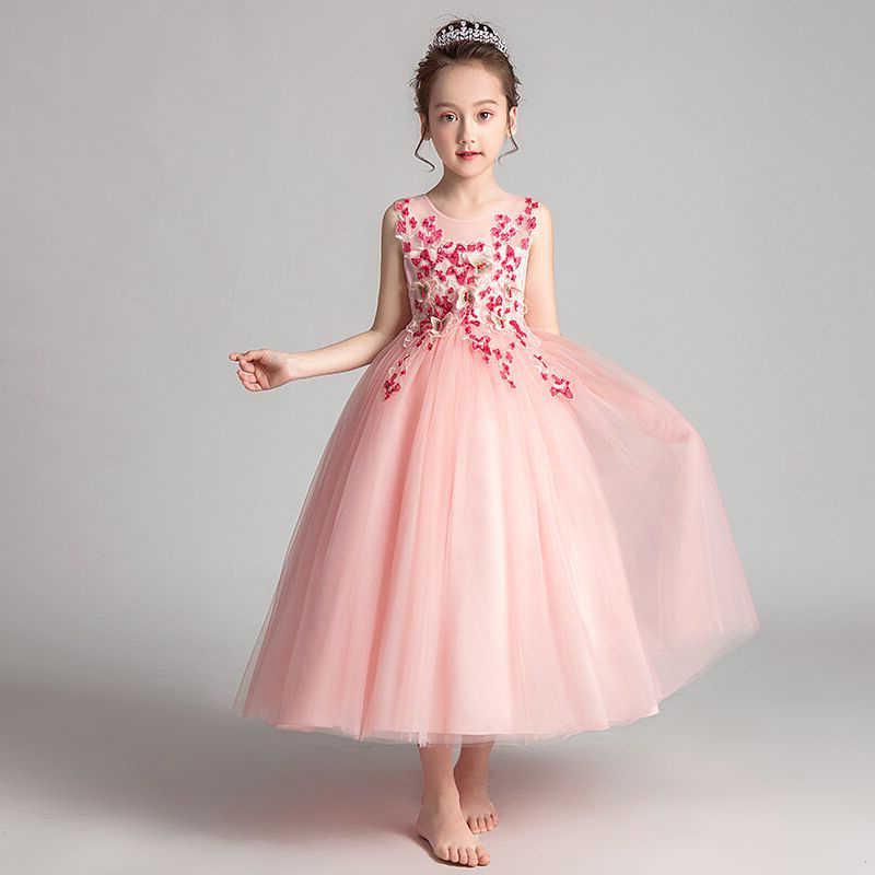 Детские кружевные платья с вышивкой для первого причастия; блестящее бальное платье; платье для торжеств; Платья с цветочным узором для девочек на свадьбу; платье для банкета сзади