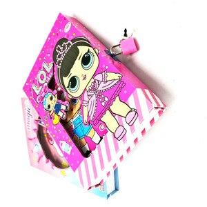 50 páginas lol surpresa boneca rosa menina coração com bloqueio diário princesa caderno presente caixa de bloqueio estudante notebook aprendizagem brinquedos