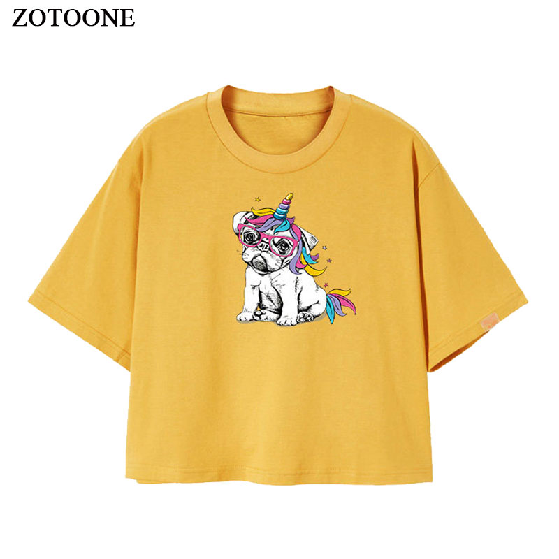 ZOTOONE Iron on Dog Patches for Clothing Applique Printed DIY Embroidered Cartoon Unicorn Patch Heat Transfers for Clothes G in Patches from Home Garden