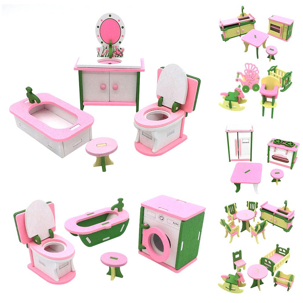 Kid Wooden Pretend Play Furniture Toy Doll Accessories Furniture Dolls House Miniature Bath Bed Living Room Children Toy Gift
