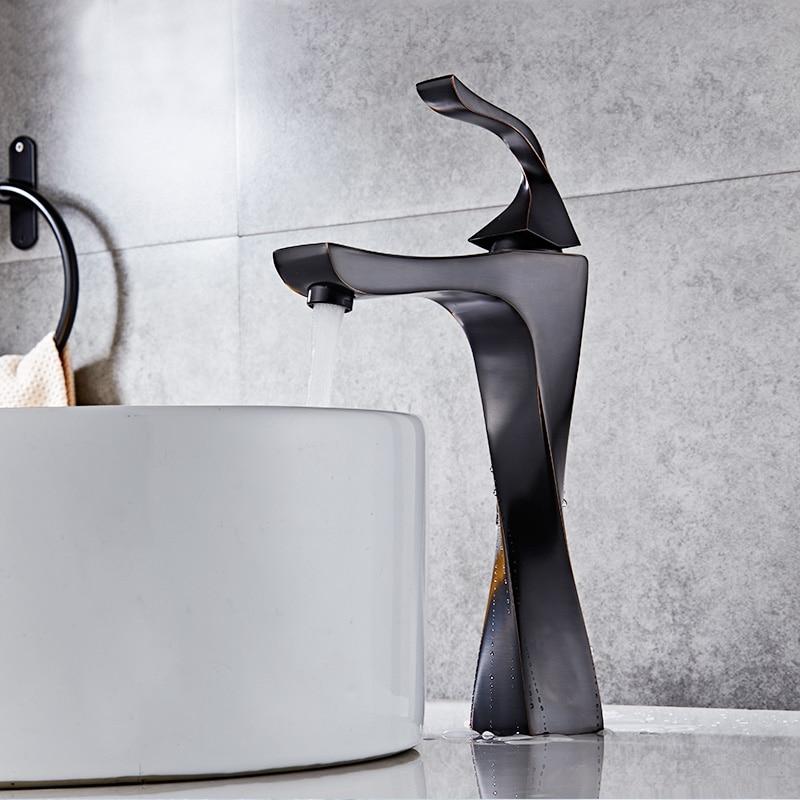 Basin Faucet Bathroom Sink Faucet Single Handle Hole Brushed Faucet Basin Taps Deck Wash Hot Cold Mixer Tap Crane