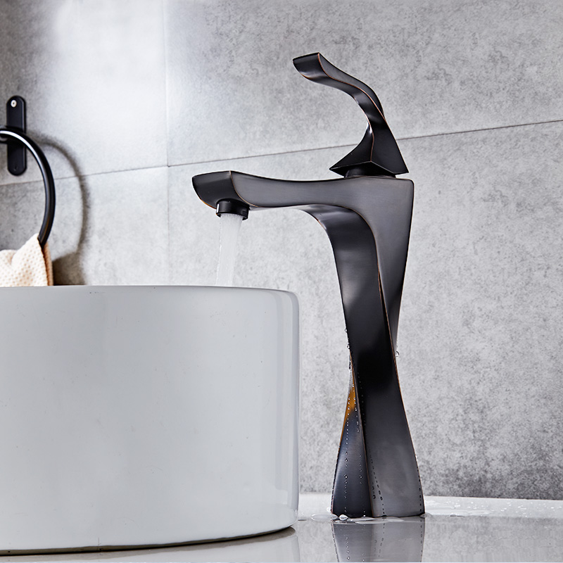 New Design Basin Faucet Black And Chrome Bathroom Sink Faucet Single Handle Basin Taps Deck Wash Hot Cold Mixer Tap Crane