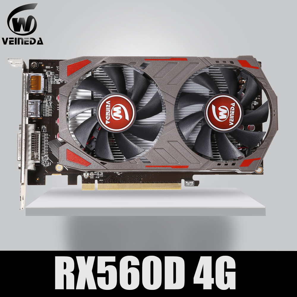 VEINIDA Video Card Radeon RX 560D GPU 4GB GDDR5 128 Bit Gaming Desktop Computer Video Graphics Cards PCI Express3.0 For Amd Card