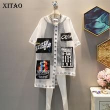 [XITAO] donna 2019 estate corea moda o-collo manica corta T-shirt allentata lettera femminile stampa Patchwork scava fuori T-shirt WBB3401