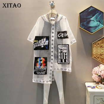 [XITAO] Women 2019 Summer Korea Fashion O-neck Short Sleeve Loose Tee Female Letter Print Patchwork Hollow Out T-shirt WBB3401 - discount item  20% OFF Tops & Tees