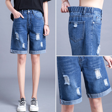 Pants Waist Jeans Shorts New Loose Summer Female Straight WOMEN Streetwear Mid Zipper Fly Knee Length REGULAR 2020 loose fit zipper fly mid waisted straight jeans