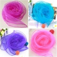 60*60 cm Square Solid head scarves Small chiffon hijab Transparent women
