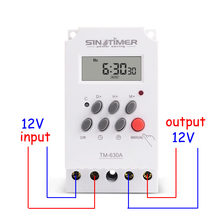 MINI minuterie 12V DC, 7 jours, Programmable, 24h, MINI interrupteur, relais de temps, sortie, charge haute puissance 30A