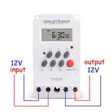 Mini interruptor de temporizador, 12v dc entrada 7 dias programável 24 horas de tempo relé saída de carga de alta potência 30a