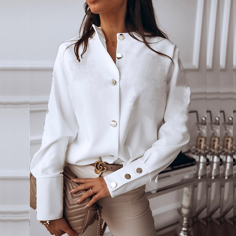 Elegant White Blouse Shirt Women's Long Sleeve Buttton Fashion Woman Blouses 2020 Womens Tops and Blouses Solid Spring Tops 5