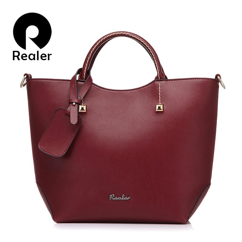 REALER Handbag Women Large Bucket Shoulder Crossbody Bag Female Artificial Leather Ladies Totes Messenger Top-handle Bags Soft