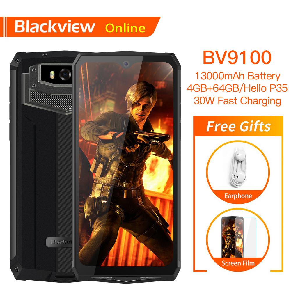 Blackview BV9100 Original Waterproof Smartphone 13000mAh 4GB+64GB Outdoor Cellphone Android9.0 Helio P35 16.0 MP 4G Mobile Phone