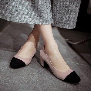 Image 3 - ZawsThia 2020 טלאי מותג שמות רדוד עגול הבוהן משאבות גבירותיי נעלי אופנה גבוהה עקבים נעלי עקב פורמליות משרד אישה נעליים
