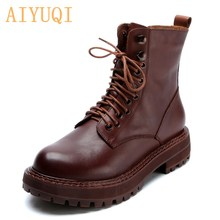 Genuine Leather Martin Boots Women British Style 2020 New Retro Head Layer Cowhide Short Boots Ladies Casual Women Boots Spring
