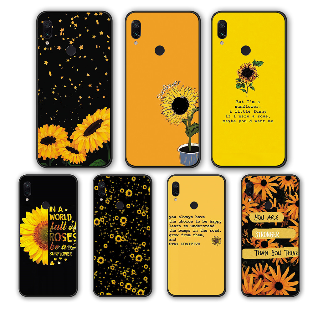 Yellow Flower Sunflower Silicone TPU Cover CASE For Xiaomi Redmi 4A 5A 6A 5Plus S2 K20 GO Note 7 8 5 6 Pro Note7pro