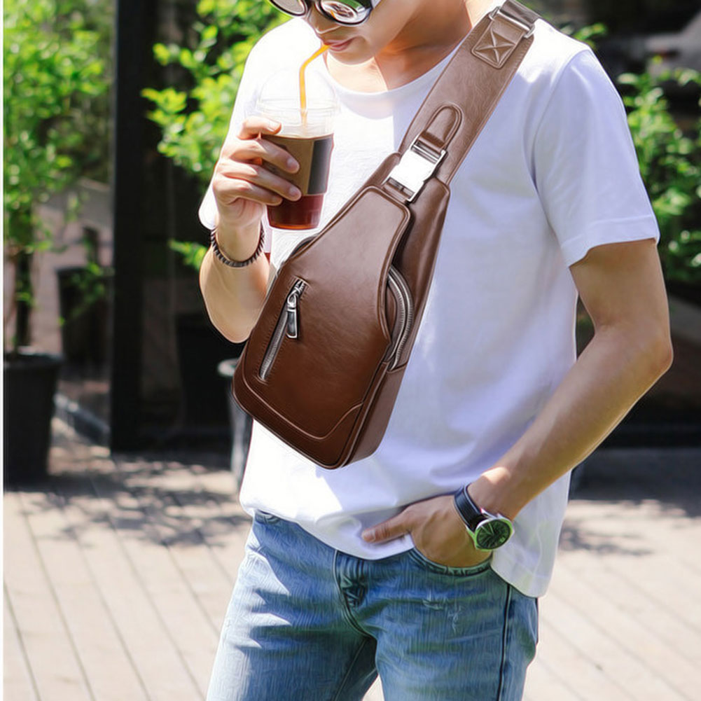 Men Chest Shoulder Bag Zipper Large Capacity PU Leather For Mobile Phone Keys K-BEST