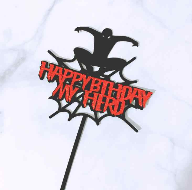 2 pçs/set Acrílico chapéus de Coco Do Bolo Dos Desenhos Animados Feliz Aniversário Meu Herói Super Hero Spiderman Topper Picaretas Do Queque Decorações do Bolo Do Partido