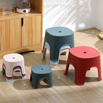 Thickened plastic Small bench bathroom stool footstool Non-slip square stool for adult children bathroom shower seats S/M Size image