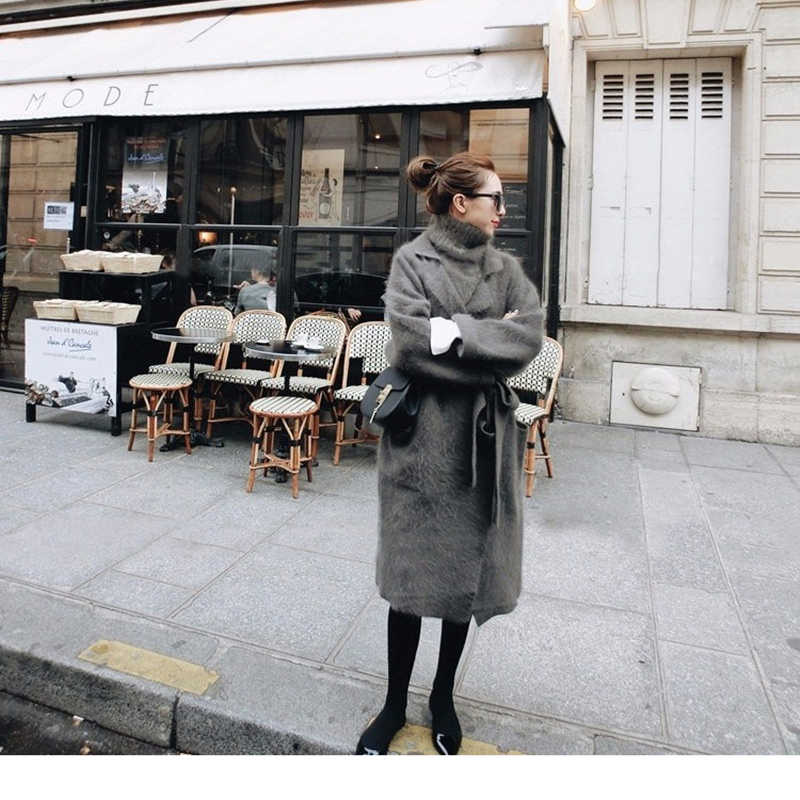 Female winter two-piece set thick warm suit collar long mink cashmere cardigan loose long sleeve belt angora sweater coat mantle