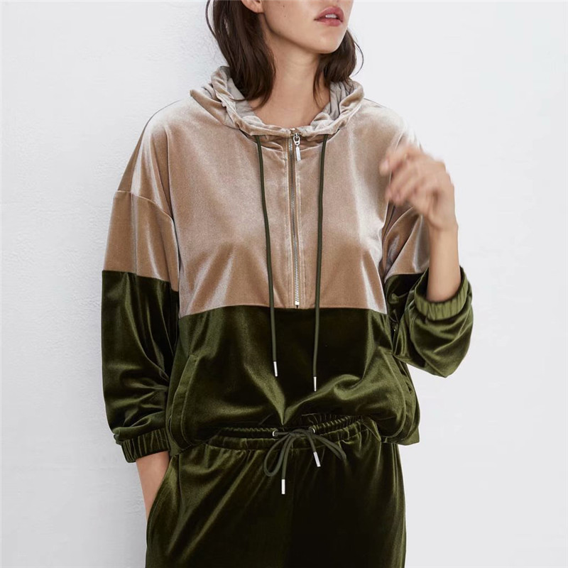 Women's Velvet Tracksuit Two Piece Set Patchwork Hoodies Long Sleeve Pockets Long Trousers 2PCS Sets Winter Costume