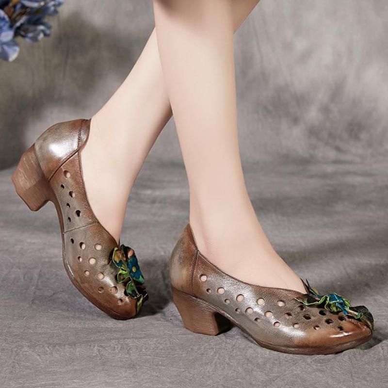 Johnature Genuine Leather Retro High Heels Sandals Women Shoes 2020 New Spring Summer Casual Shallow Ladies Platform Sandals