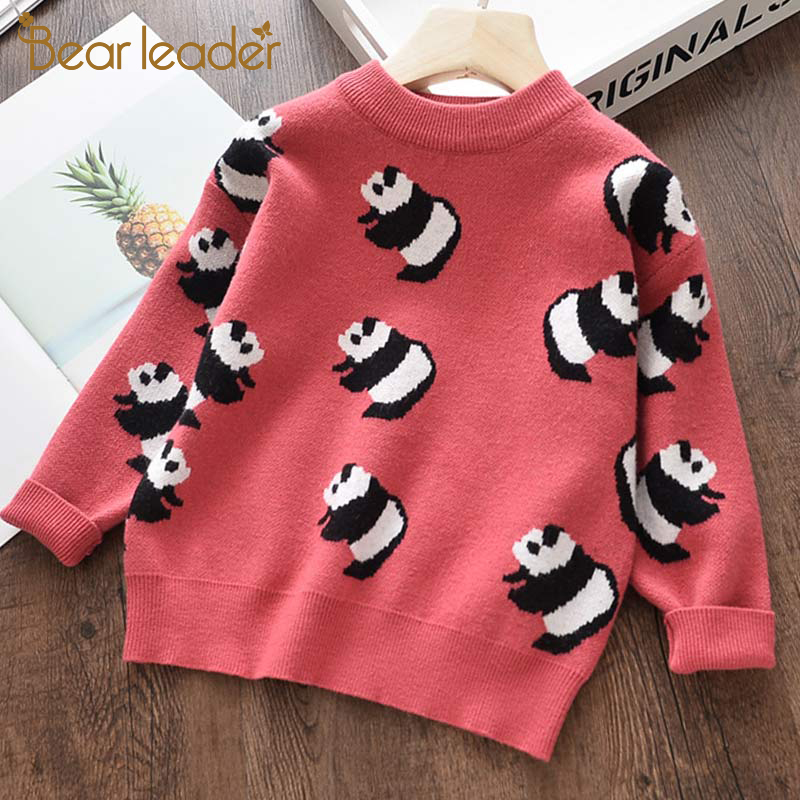 Bear Leader Girls Sweaters New Autumn Soft Girl's Jacket Sweater Cartoon Pattern Panda Kids Clothes Warm Children Clothing