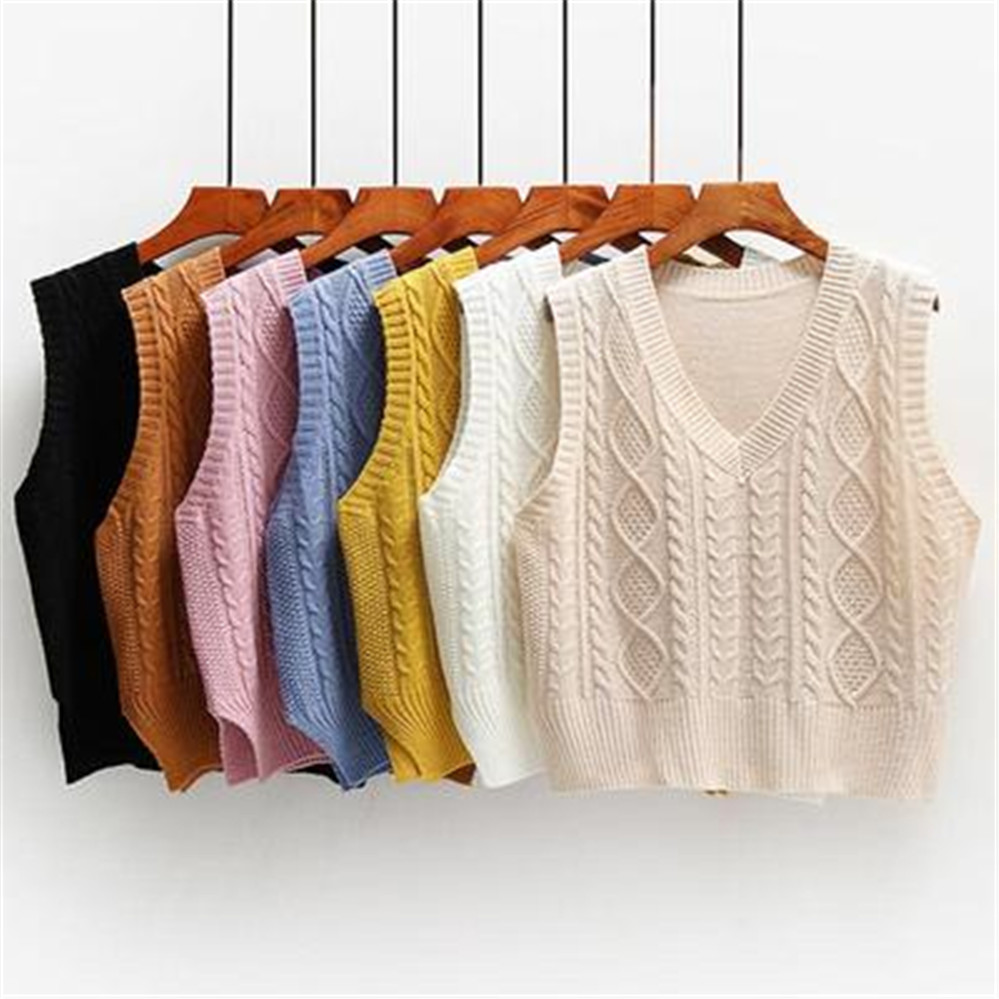 Vest Women Solid Short Loose Trendy Korean Style Sleeveless Knitted V-Neck All-match Female Coats Simple Leisure Outwear