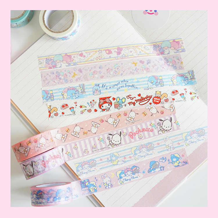 4 sztuk/partia Kawaii kreatywny Cartoon Melody PC pies taśma maskująca Album Scrapbooking Decor DIY taśma Washi Stick Label