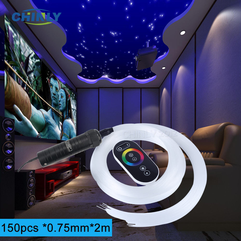 LED Fiber Optic Starry Sky Light Decorative Car 6W RGB Engine Touch Remote Control 150pcs 0.75mm 2M Optical Fiber Ceiling Lights