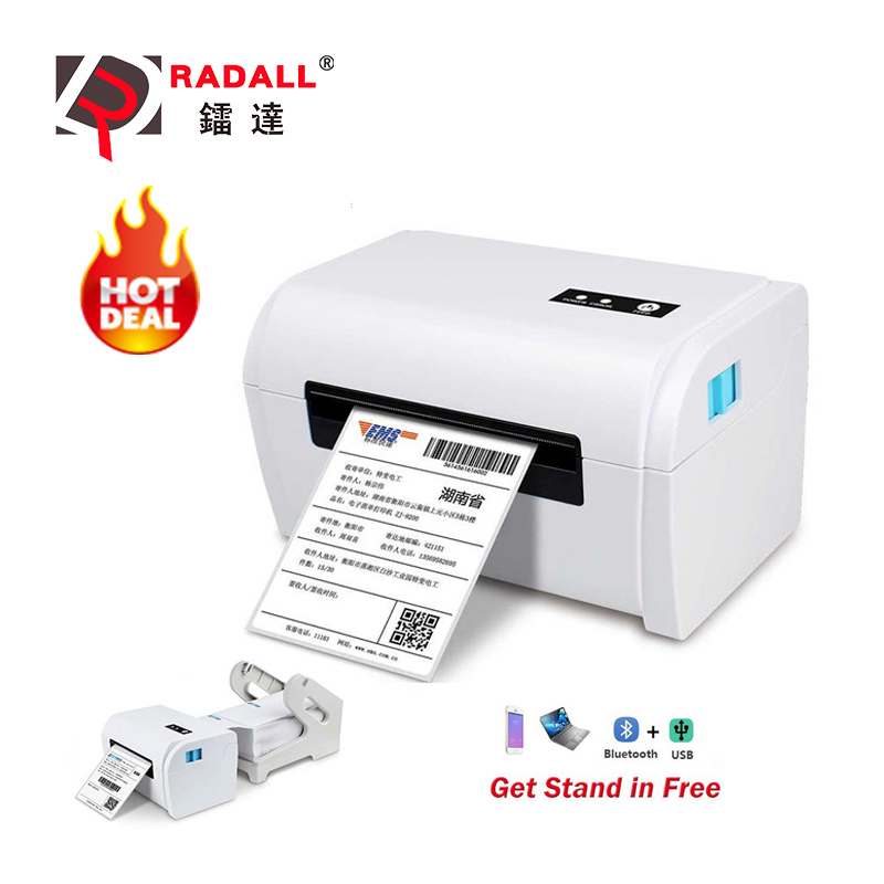 Free Stand Label Printer Thermal Printer Barcode Printer USB/Bluetooth A6 Shipping address Printer for Android/ios Auto Peeling title=