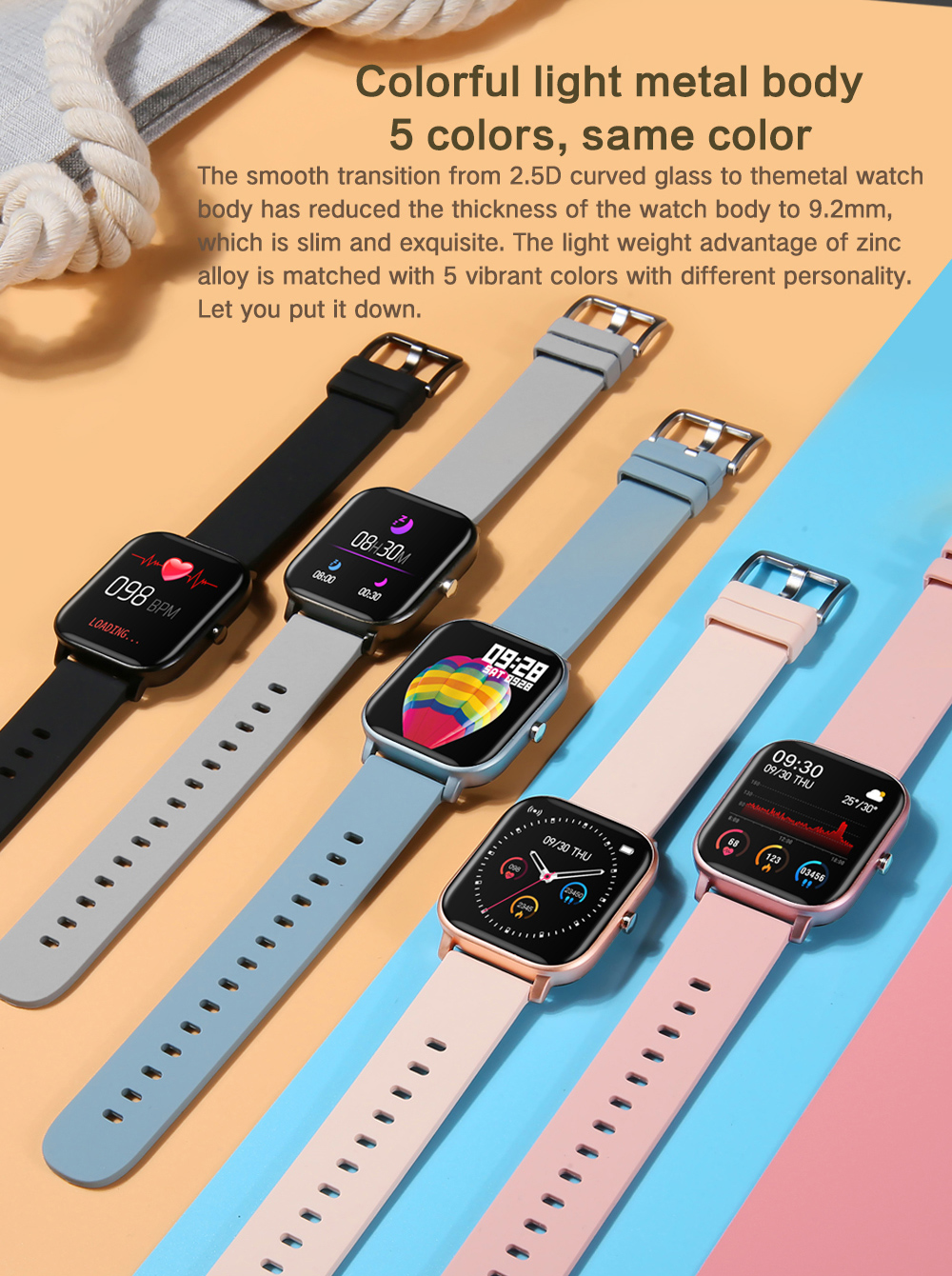 H73ad2689c1084aee8da729193fad40f7d 2021 New P8 Color Screen Smart Watch Women men Full Touch Fitness Tracker Blood Pressure Smart Clock Women Smartwatch for Xiaomi