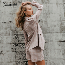 Two piece suit Double breasted plaid blazer shorts set SF