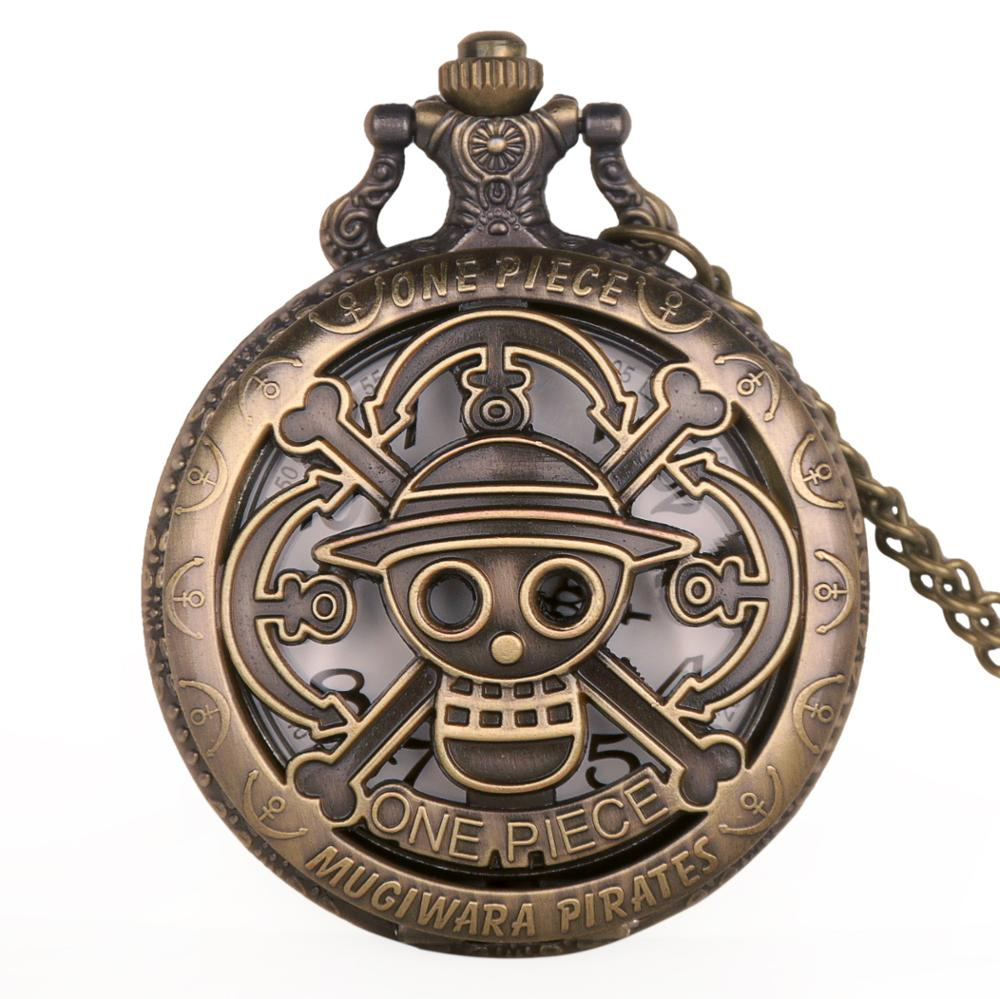 Copper Vintage Hollow One Piece Theme Skull Pattern Hollow Quartz Pocket Watch For Men Women Kids Gift Necklace Fob Watches