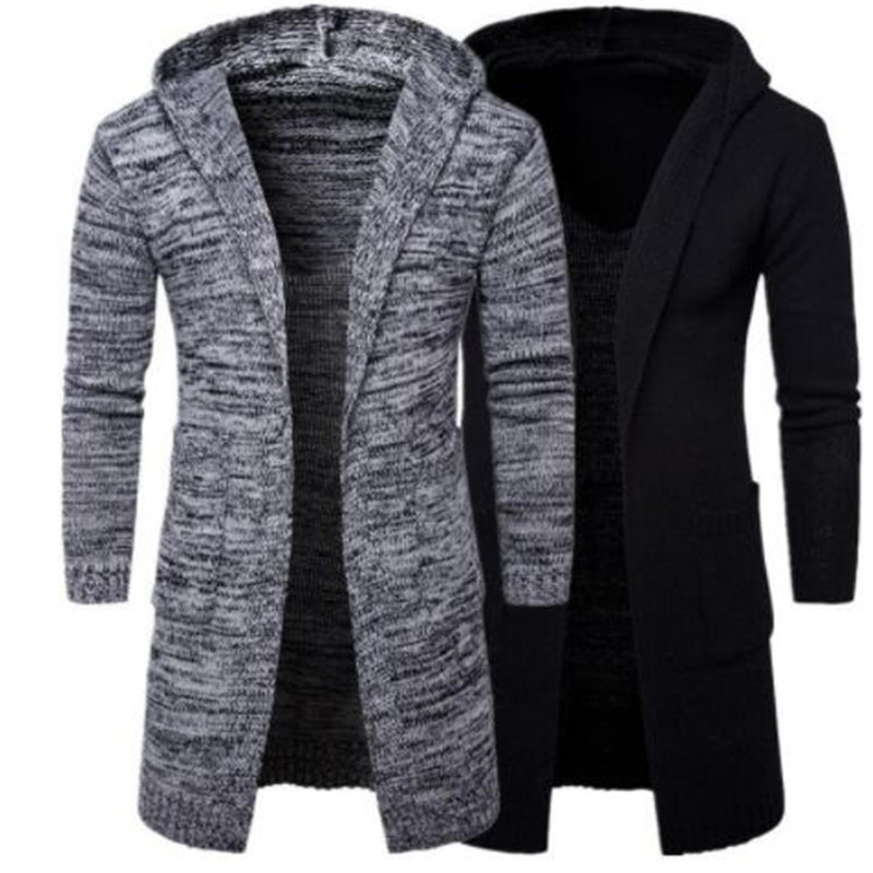2019 New Arrival Mens Slim Fit Hooded Knit Sweater Fashion Cardigan Long Trench Coat Jacket