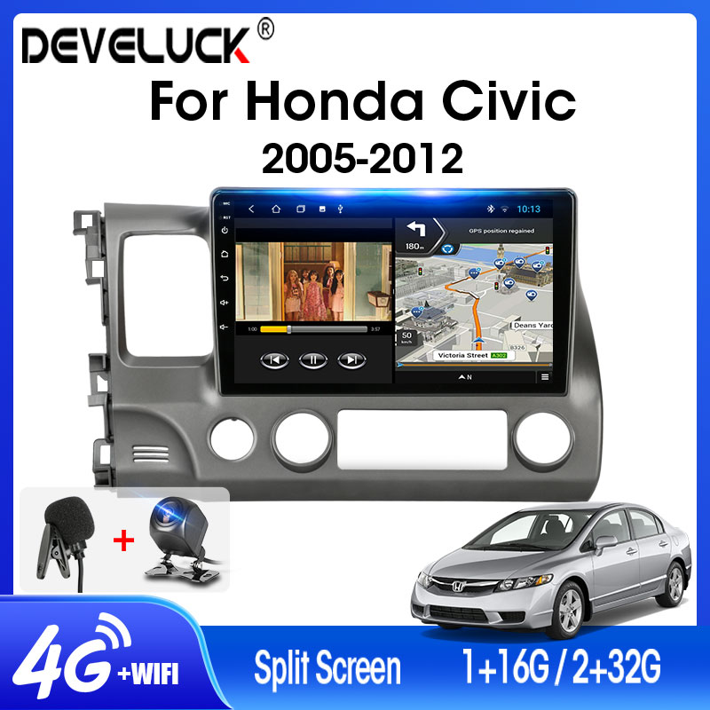 Android 9.0 Car Radio T3L For Honda <font><b>Civic</b></font> 2005-2012 2.5D Screen 2din Multimedia Navigation GPS Player DSP RDS Floating window image