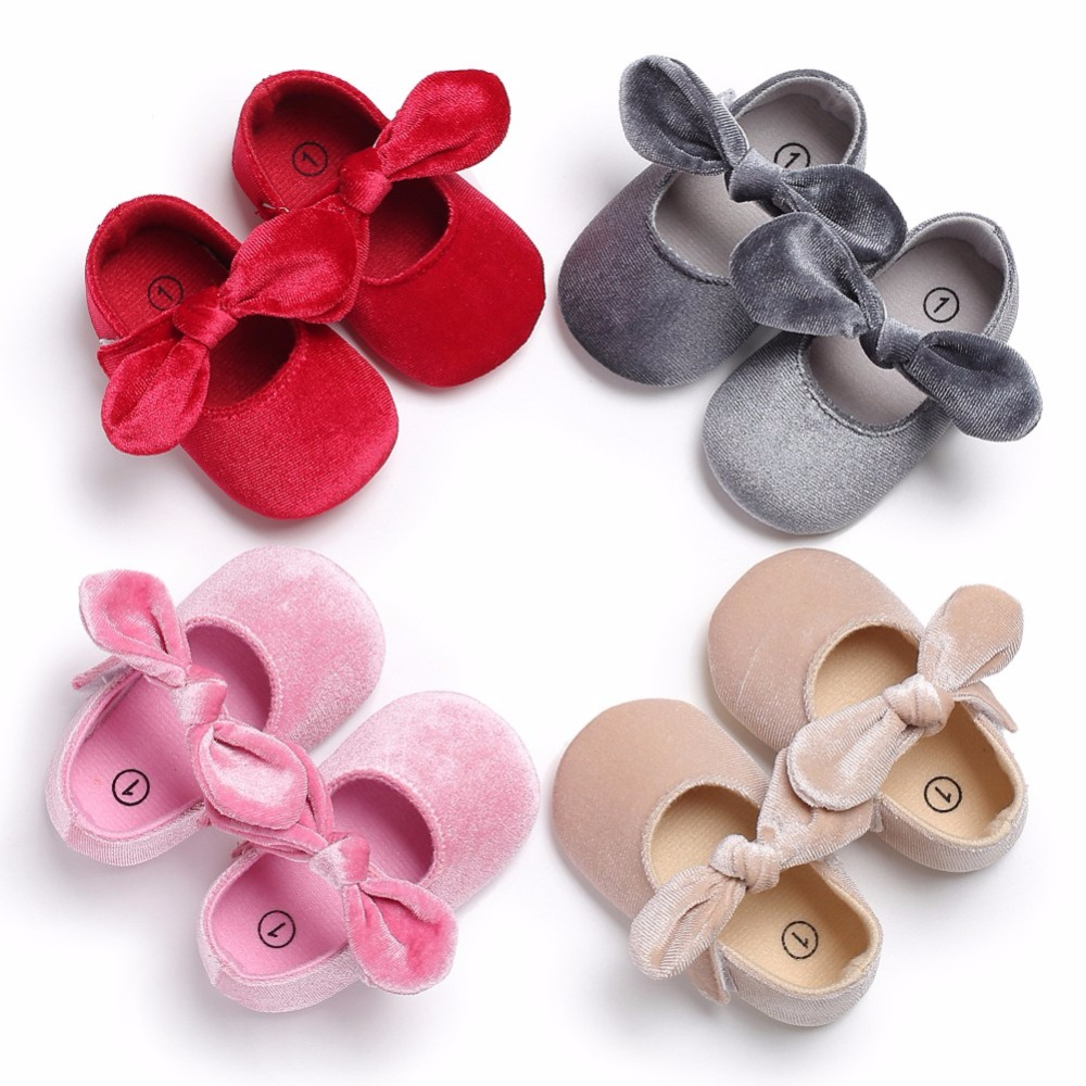 Velvet Baby Shoes Big Butterfly-knot Bow Toddlers For 0-18M Baby Girl Princess Shoes Comfortable First Walkers Shoes