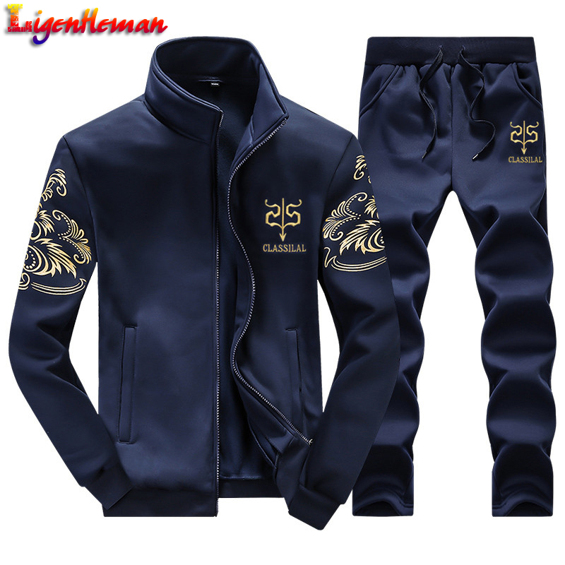 Men Casual Active Suit Zipper Outwear 2019 Men's Sportwear Suit Sweatshirt Tracksuit Without Hoodie 2PC Jacket+Pants Sets FA118