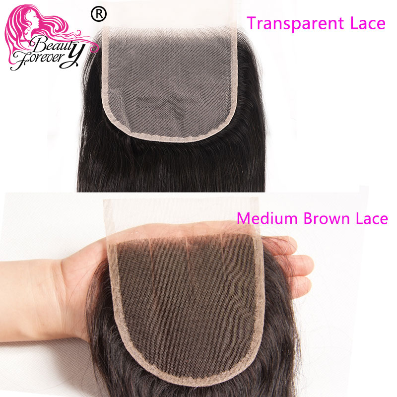 Beauty Forever Brazilian Hair Straight Bundles With Closure Medium Brown/Transparent Lace 4x4 5x5 Closure with Bundles Remy