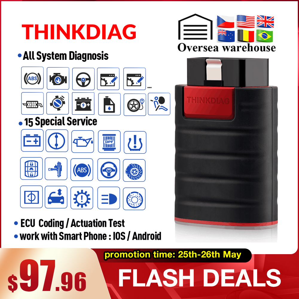 Thinkcar ThinkDiag Obd2 Code Reader Scanner All System Bluetooth Andriod IOS Diagnostic Tool 15 Reset Service Pk EasyDiag AP200