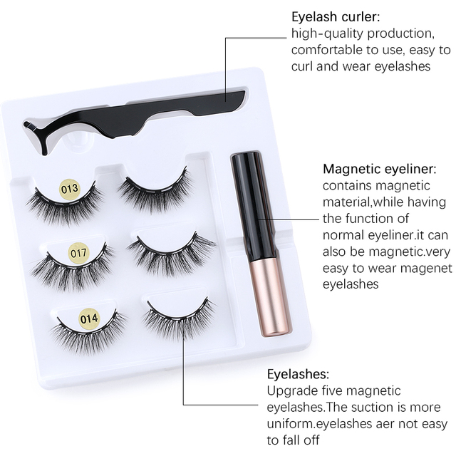 3Pairs of Glue-free Magnetic Eyelashes set Magnet Liquid Eyeliner Tweezer Set Waterproof Long Lasting Reusable Eyelash Extension 3