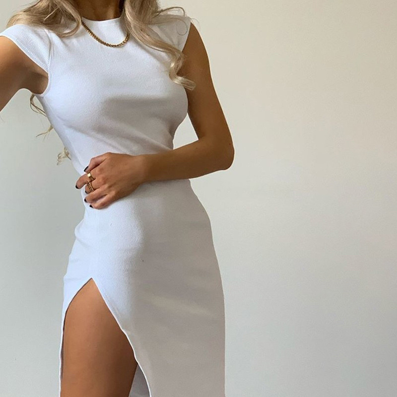 Elegant Simple Knitting High Quality Mini Dresses Women Summer ONeck Sleeveless High Split Dress Lady Skinny Streetwear Clothing