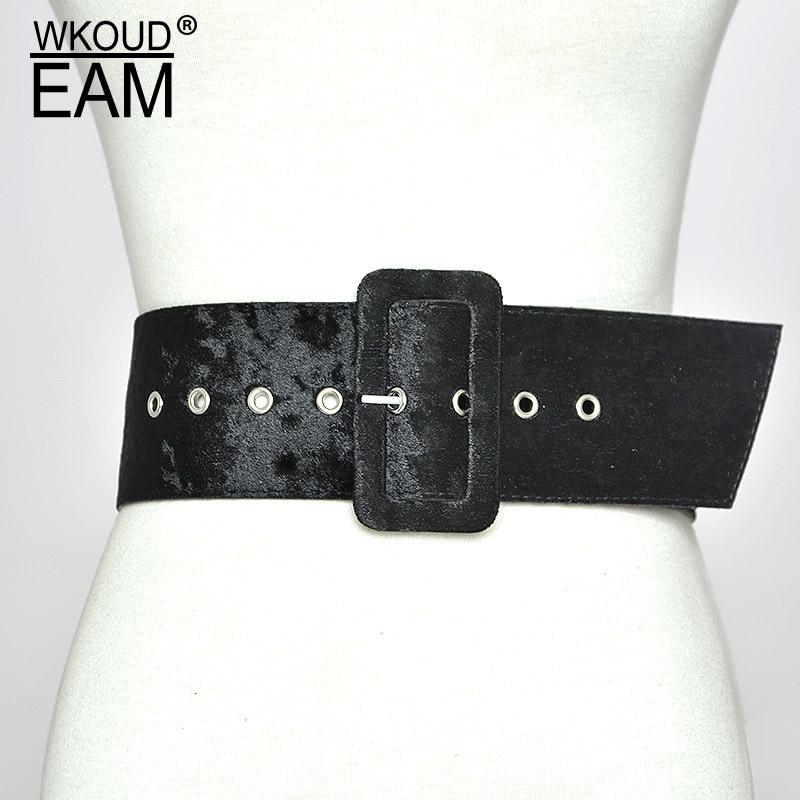 WKOUD EAM 2020 New Velvet Imitation Leather Wide Waistband Female Wild Coat Lace-up High Quality Brand Waistband Lady Tide PE126
