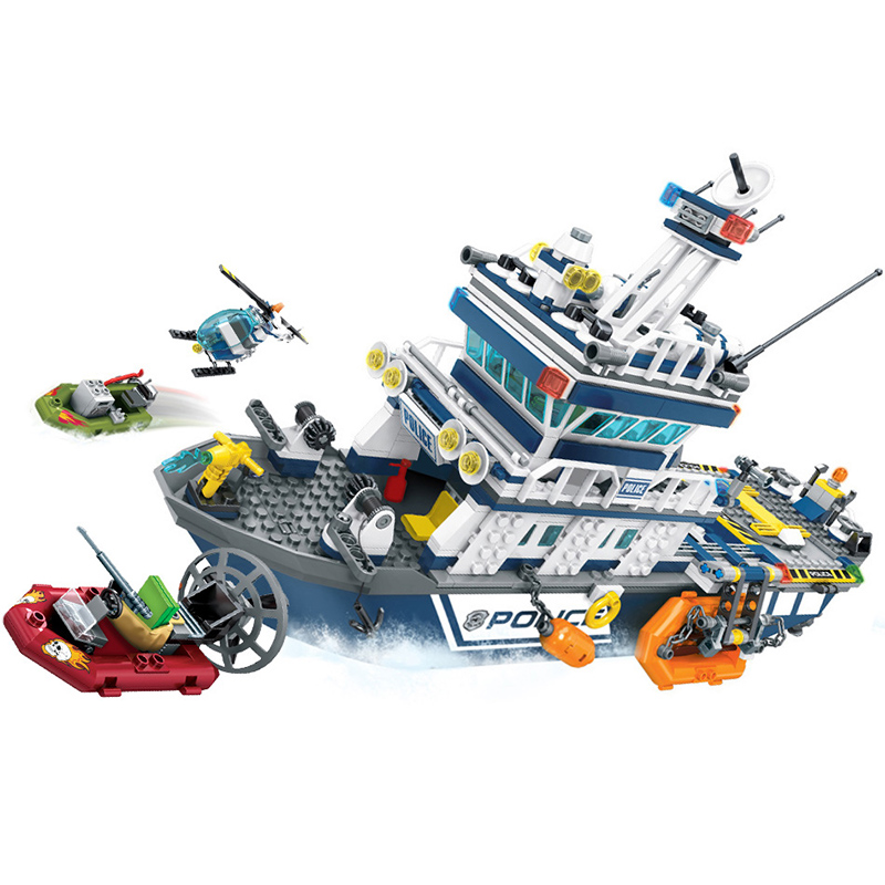 Image 3 - 869+pcs City Police Patrol Boat Helicopter Building Blocks Action Figures Compatible Technic Bricks Toys For ChildrenBlocks   -